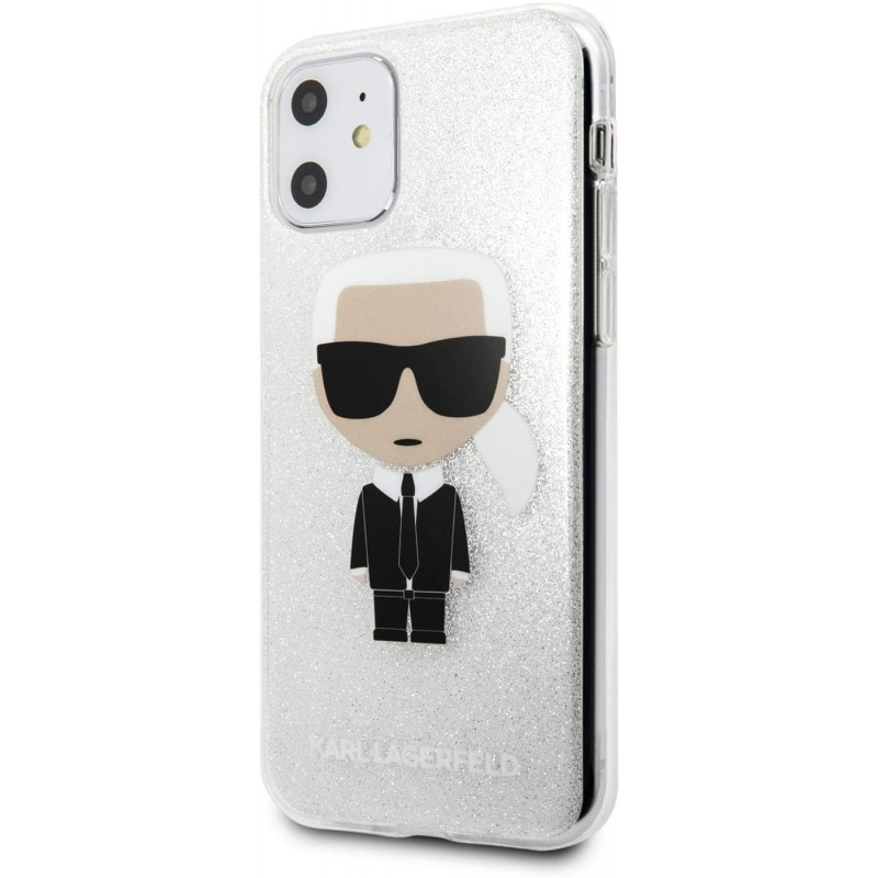 Чехол Karl Lagerfeld TPU Collection Iconik (KLHCN61TPUTRIKSL) для iPhone 11 (Glitter Silver)