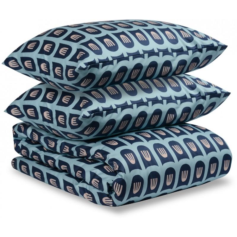 Комплект постельного белья двусторонний из сатина розового и голубого цветов Tkano с принтом Blossom time