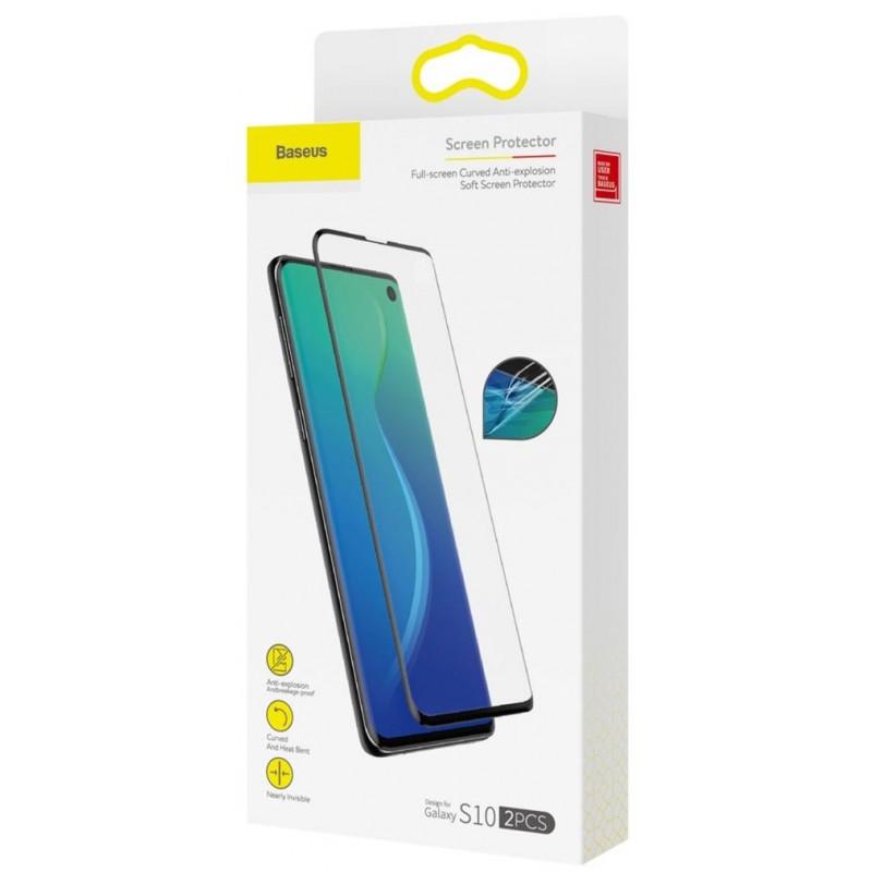 Комплект защитных пленок Baseus Curved Soft Screen Protector (SGSAS10-KR01) для Samsung Galaxy S10 (Black)