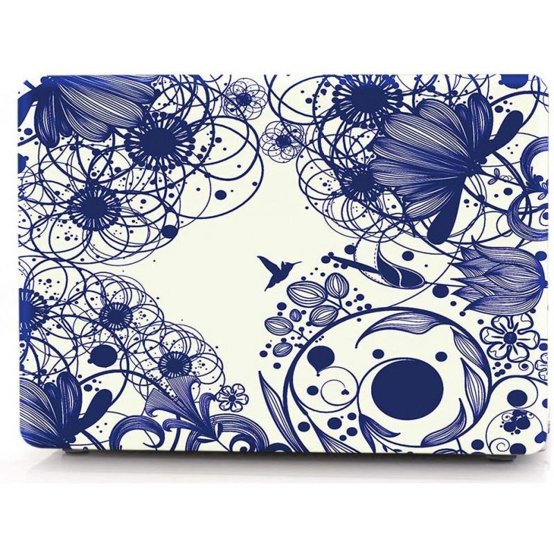 Накладка i-Blason Cover для MacBook Pro 13 2016-2019 A1706/A1708 (Blue Line Flowers)