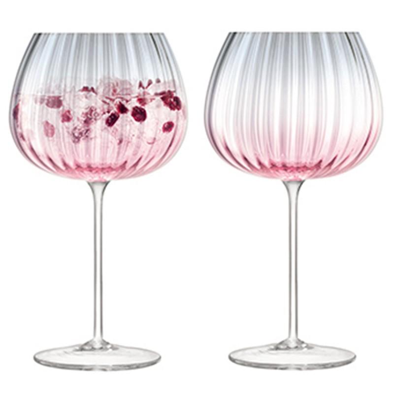 Набор из 2 круглых бокалов LSA International Dusk 650 мл розовый-серый