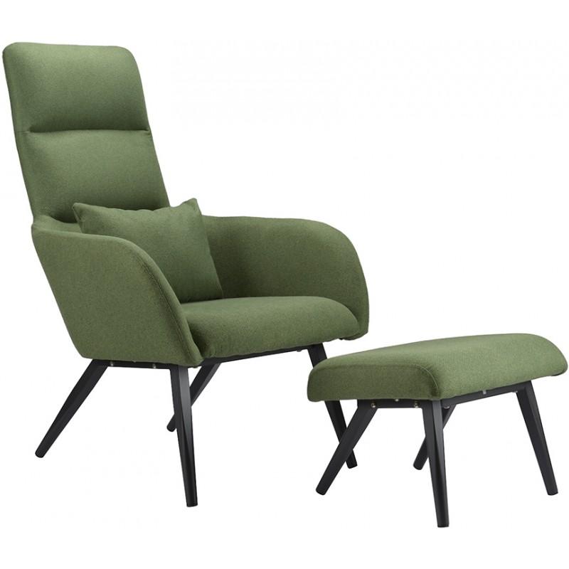 Кресло с подставкой для ног и подушкой Berg Bridjet, зеленое