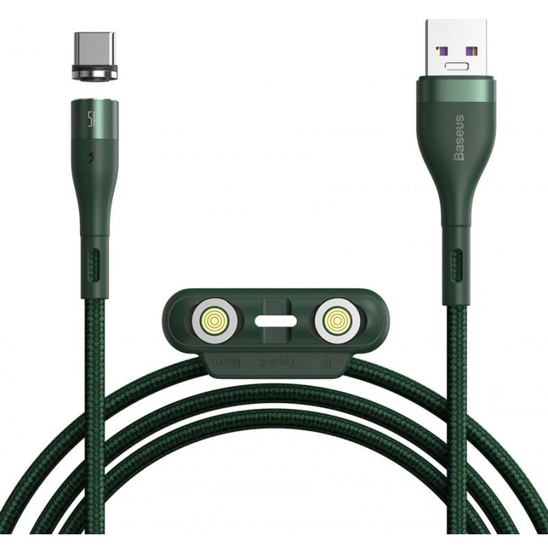 Кабель Baseus Zinc Magnetic (CA1T3-B06) USB-A to Lightning/USB-C/MicroUSB 1m (Green)